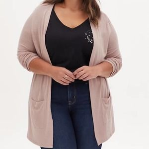 Torrid Taupe Hacci Open Front Cardigan 2 NWT